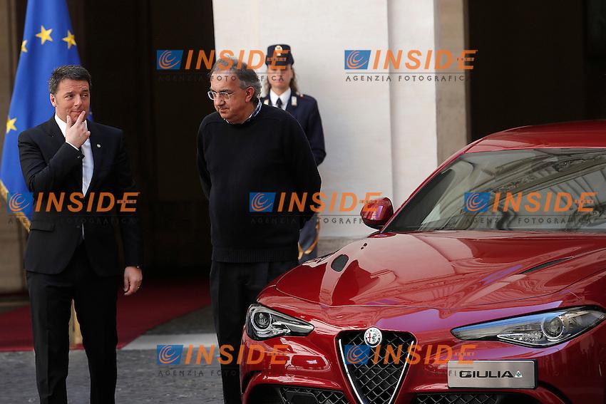 Matteo Renzi, Sergio Marchionne <br /> Roma 05-05-2016 Palazzo Chigi. Presentazione della Nuova Alfa Romeo Giulia.<br /> Rome 16th May 2016. Presentation of the new Giulia by Alfa Romeo.<br /> Photo Samantha Zucchi Insidefoto