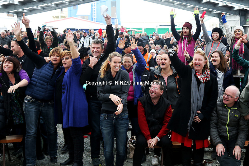Members of the public indicate they are keen to compete in the Oyster Eating competition during the Bluff Oyster and Food Festival, Bluff, New Zealand, Saturday, May 21, 2016. Credit:  Dianne Manson