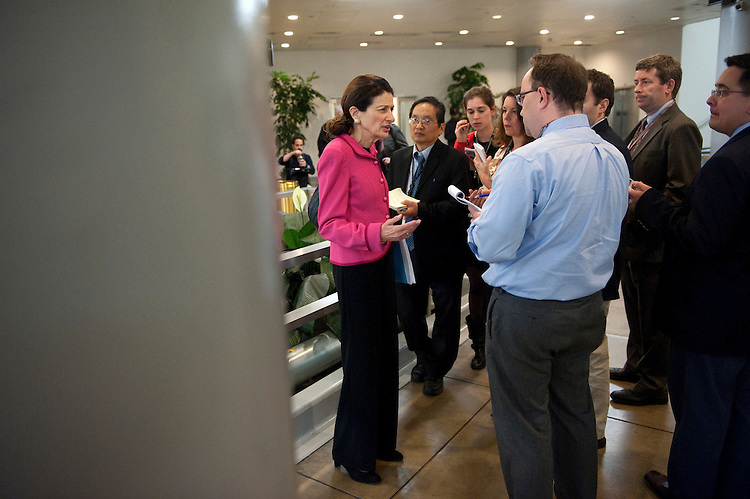 UNITED STATES - NOVEMBER 13: Sen. Olympia Snowe, R-Maine, is interviewed by the press in the Senate subway. Speculation is rampant about cabinet changes and the ongoing Petraeus scandal. (Photo by Chris Maddaloni/CQ Roll Call)