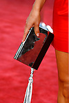 "TV Personality Maria Menounos 's handbag at the Los Angeles Premiere Of ""Tropic Thunder"" at the Mann's Village Theater on August 11, 2008 in Los Angeles, California."