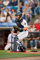 Binghamton Rumble Ponies catcher Patrick Mazeika (11) waits to receive a throw at home plate during a game against the Erie SeaWolves on May 14, 2018 at NYSEG Stadium in Binghamton, New York.  Binghamton defeated Erie 6-5.  (Mike Janes/Four Seam Images)