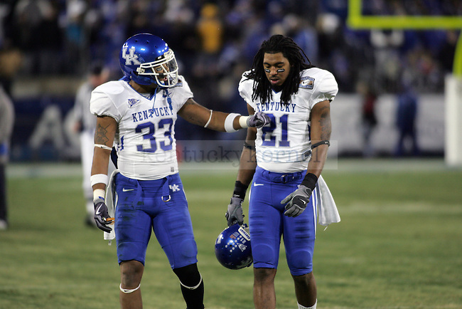 Senior safety Calvin Harrison talks with sophomore free safety Winston guy after losing possession of the ball in the second half Clemson's win of the Music City Bowl at LP Field in Nashville, Tenn. on Sunday, Dec. 27, 2009. Photo by Britney McIntosh   Staff