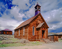 Methodist Church, Bodie State Historic Park, California, Gold mining ghost town from 1859, East side of Sierra Nevada Mountains, afternoon, May