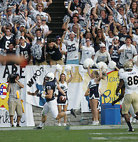 State College, PA - 09/15/2012:  Penn State LB Mike Hull finds the end zone after a 74-yard fumble recovery for a touchdown during the start of the 4th quarter.  Penn State defeated Navy by a score of 34-7 on Saturday, September 15, 2012, at Beaver Stadium.  The win was the first for new Penn State head coach Bill O'Brien...Photo:  Joe Rokita / JoeRokita.com..Photo ©2012 Joe Rokita Photography