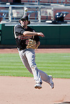 Sacramento River Cats shortstop Josh Horton makes the off balance throw to first against the Reno Aces during their play off game played on Sunday afternoon, September 9, 2012 in Reno, Nevada.