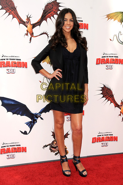 "TERRI SEYMOUR .""How To Train Your Dragon"" Los Angeles Premiere held at the Gibson Amphitheatre, Universal City, California, USA, 21st March 2010..arrivals full length black dress blazer jacket hand on hip strappy ankle strap open toe sandals platform .CAP/ADM/BP.©Byron Purvis/AdMedia/Capital Pictures."