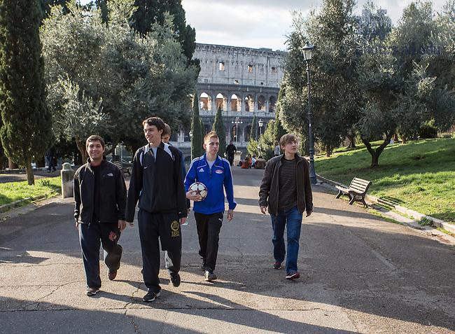 Jan. 27, 2014; Notre Dame School of Architecture students walk near the Notre Dame Rome Centre in Rome. <br /> <br /> Photo by Matt Cashore/University of Notre Dame
