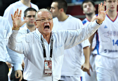 08.09.2010 Serbia's Coach Dusan Ivkovic gestures during The Quarter Finals Match against Spain in The 2010 FIBA Basketball World Championship in Istanbul, Turkey.  Serbia qualified for The Semi-Finals after defeating Spain 92-89.