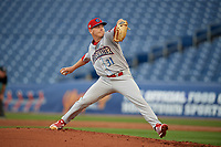 Clearwater Threshers starting pitcher Spencer Howard (31) delivers a pitch during a Florida State League game against the Dunedin Blue Jays on April 4, 2019 at Spectrum Field in Clearwater, Florida.  Dunedin defeated Clearwater 11-1.  (Mike Janes/Four Seam Images)