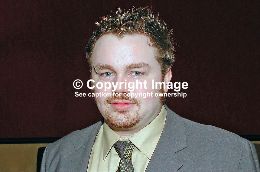Duane Farrell, member of N Ireland Civic Forum. North South Officer with Youthnet and National Youth Council of Ireland. He is involved in gay rights. Ref: 2001021813<br />