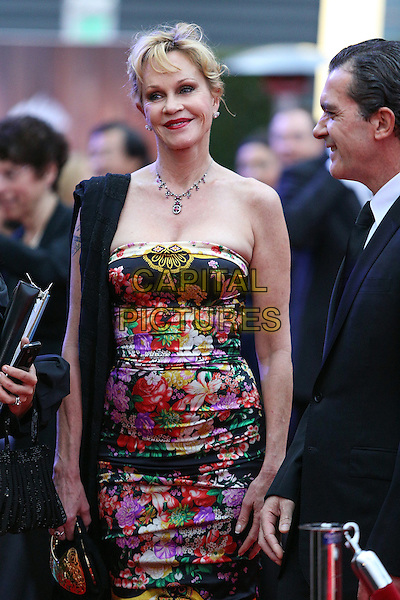 Melanie Griffith.Children's Hospital Los Angeles Gala: Noche de Ninos, Los Angeles, California, USA, 20th October 2012..half length strapless floral print red pink black dress necklace scarf over shoulder  clutch bag .CAP/ADM/PH.©Paul A. Hebert/AdMedia/Capital Pictures.
