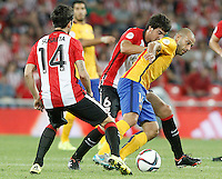 Athletic de Bilbao's Markel Susaeta (l) and Mikel San Jose (c) and FC Barcelona's Javier Mascherano during Supercup of Spain 1st match.August 14,2015. (ALTERPHOTOS/Acero)