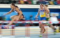 ISTAMBUL, TURQUIA, 09 DE MARCO 2012 - MUNDIAL DE ATLETISMO INDOOR - <br /> Jessica Ennis (E) durante Pentatlo 60 metros com barreira para mulheres no Mundial de Atlestismo Indoor na Arena Atakoy em Istambul na Turquia, nesta sexta-feira, 09 marco. (FOTO: BERND THISSEN  / BRAZIL PHOTO PRESS).