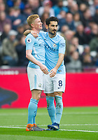Manchester City Kevin De Bruyne and Manchester City Ilkay Gundogan  celebrating second goal during the EPL - Premier League match between West Ham United and Manchester City at the Olympic Park, London, England on 29 April 2018. Photo by Andrew Aleksiejczuk / PRiME Media Images.