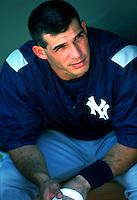 Joe Girardi of the New York Yankees during a game at Anaheim Stadium in Anaheim, California during the 1997 season.(Larry Goren/Four Seam Images)