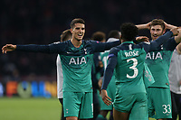 /Spura p layers including Erik Lamela celebrate the victory after AFC Ajax vs Tottenham Hotspur, UEFA Champions League Football at the Johan Cruyff Arena on 8th May 2019