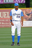 Mike Daniel #28 of the Myrtle Beach Pelicans in the field before a game against the Frederick Keys on May 14, 2010 in Myrtle Beach, SC.