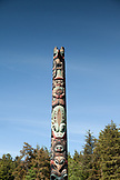 USA, Alaska, Sitka, an ancient carved Tinglit totem pole at the Tinglet Heritage Center