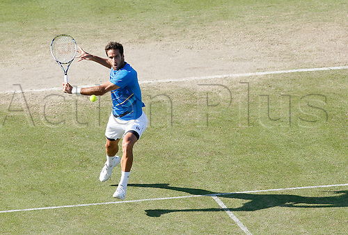 20.06.2014 Eastbourne, England. Aegon International Eastbourne. Lopez in action.  Feliciano Lopez (ESP) defeats Sam Querrey (USA)  by a score  6-4, 7-6 in their Semifinals match at Devonshire Park.