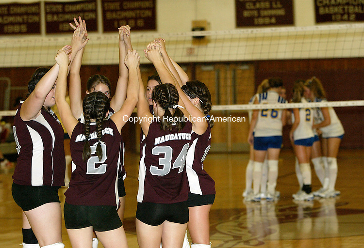 NAUGATUCK, CT 9/11/07- 091107BZ06-  The Naugatuck girls volleyball team prepares to take on Seymour in the second game of their match at Naugatuck High School Tuesday night.<br /> Jamison C. Bazinet Republican-American