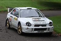 Jon Burn, Alan Stark near Junction 10 on the Gleaner Oil & Gas Cooper Park Special Stage 2 of the Gleaner Oil & Gas Speyside Stages Rally 2012, Round 6 of the RAC MSA Scotish Rally Championship which was organised by The 63 Car Club (Elgin) Ltd and based in Elgin on 4.8.12..........