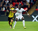 Tottenham's Moussa Sissoko tussles with Dortmund's Jeremy Toljan during the champions league match at Wembley Stadium, London. Picture date 13th September 2017. Picture credit should read: David Klein/Sportimage