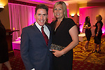 Rob Brydon with his wife Claire Holland at the gala dinner.<br /> The Celebrity Cup 2015<br /> Celtic Manor Resort<br /> <br /> 04.07.15<br /> &copy;Steve Pope - SPORTINGWALES