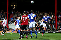 Michael Morrison of Birmingham heads the ball over the Brentford goal during Brentford vs Birmingham City, Sky Bet EFL Championship Football at Griffin Park on 2nd October 2018