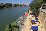 Beach along the Seine River, Paris, France, Europe.