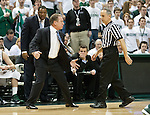 Michigan State Spartans coach Tom Izzo argues a call with official Mike Sanzeer during a Big Ten basketball game against the Wisconsin Badgers at the Breslin Center in East Lansing, MI on March 7, 2013. (Photo by Bob Campbell)