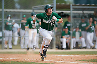 Babson Beavers catcher Sean Harrington (10) runs to first while watching his grand slam home run during a game against the Edgewood Eagles on March 18, 2019 at Lee County Player Development Complex in Fort Myers, Florida.  Babson defeated Edgewood 23-7.  (Mike Janes/Four Seam Images)