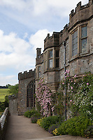 Facade of Haddon Hall with border and climbing roses (Rosa)