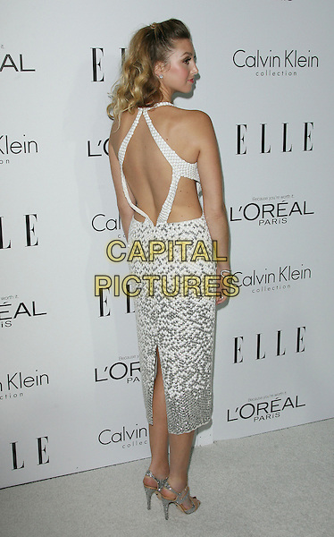 Whitney Port.ELLE's 19th Annual Women In Hollywood Celebration held at Four Seasons Hotel, Beverly Hills, California, USA..October 15th, 2012.full length white dress sleeveless silver sequins sequined cut out away sides backless straps back behind rear looking over shoulder profile .CAP/ADM.©AdMedia/Capital Pictures.