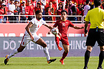 Do Hung Dung of Vietnam (R) fights for the ball with Saeed Almurjan of Jordan (L) during the AFC Asian Cup UAE 2019 Round of 16 match between Jordan (JOR) and Vietnam (VIE) at Al Maktoum Stadium on 20 January 2019 in Dubai, United Arab Emirates. Photo by Marcio Rodrigo Machado / Power Sport Images