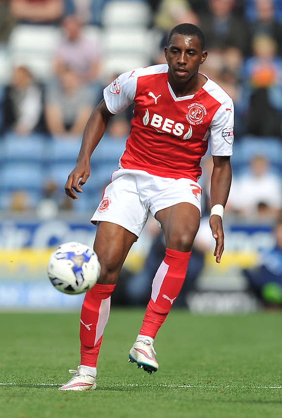 Fleetwood Town's Amari'i Bell<br /> <br /> Photographer Dave Howarth/CameraSport<br /> <br /> Football - The Football League Sky Bet League One - Oldham Athletic v Fleetwood Town - Saturday 15th August 2015 - SportsDirect.com Park - Oldham<br /> <br /> &copy; CameraSport - 43 Linden Ave. Countesthorpe. Leicester. England. LE8 5PG - Tel: +44 (0) 116 277 4147 - admin@camerasport.com - www.camerasport.com