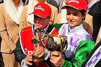 Winning jockey of PRINCE OF PENZANCE, Michelle Payne with her brother/strapper Steven Payne<br />