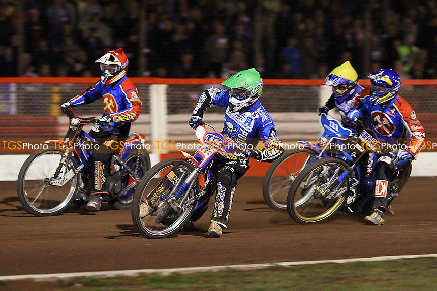 Heat 9: Andreas Jonsson (red), Jonas Davidsson (blue), Davey Watt (green) and Freddie Eriksson - Lakeside Hammers vs Poole Pirates - Sky Sports Elite League Play-Off Grand Final, First Leg at Arena Essex, Purfleet - 06/10/08 - MANDATORY CREDIT: Gavin Ellis/TGSPHOTO - Self billing applies where appropriate - 0845 094 6026 - contact@tgsphoto.co.uk - NO UNPAID USE.