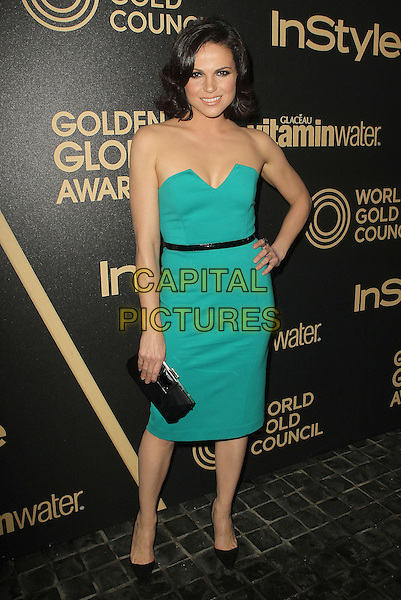Lana Parrilla.The Hollywood Foreign Press Association And InStyle Miss Golden Globe 2013 Party held at Cecconi's Restaurant, West Hollywood, California,.USA, 29th November 2012..full length strapless green dress black clutch bag belt hand on hip .CAP/ADM/KB.©Kevan Brooks/AdMedia/Capital Pictures.