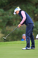 Celine Boutier of Team Europe on the 7th green during Day 2 Foursomes at the Solheim Cup 2019, Gleneagles Golf CLub, Auchterarder, Perthshire, Scotland. 14/09/2019.<br /> Picture Thos Caffrey / Golffile.ie<br /> <br /> All photo usage must carry mandatory copyright credit (© Golffile | Thos Caffrey)