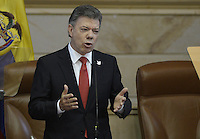 BOGOTA -COLOMBIA. 20-07-2014. Juan Manuel Santos, presidente de Colombia, durante la instalación del Congreso de la República para la legislatura 2014-18./ Juan Manuel Santos, president of Colombia, during the installtion of the Congress of the Republic to the legislature 2014-18 . Photo: VizzorImage/ Gabriel Aponte / Staff