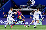 Ivan Lopez Alvarez, Ivi, of Levante UD (C) fights for the ball with Carlos Henrique Casemiro of Real Madrid (L) and Raphael Varane of Real Madrid (R) during the La Liga 2017-18 match between Levante UD and Real Madrid at Estadio Ciutat de Valencia on 03 February 2018 in Valencia, Spain. Photo by Maria Jose Segovia Carmona / Power Sport Images