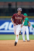 Jackson Lueck (2) of the Florida State Seminoles runs the bases after a home run against the Notre Dame Fighting Irish in Game Four of the 2017 ACC Baseball Championship at Louisville Slugger Field on May 24, 2017 in Louisville, Kentucky. The Seminoles walked-off the Fighting Irish 5-3 in 12 innings. (Brian Westerholt/Four Seam Images)