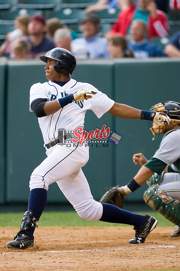 Mario Martinez (57) of the Pulaski Mariners follows through on his swing at Calfee Field in Pulaski, VA, Sunday July 6, 2008. (Photo by Brian Westerholt / Four Seam Images)