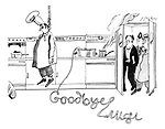 (A chef has hung himself and left a goodbye message in spaghetti reading 'Goodbye Luigi')