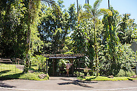 The entrance to Hawaii Tropical Botanical Garden in Papa'ikou near Hilo, Big Island of Hawai'i.