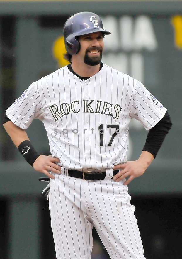 Colorado Rockies Todd Helton (17) during a game against the Tampa Bay Rays on May 5, 2013 at Coors Field in Denver, CO. The Rays beat the Rockies 8-3..