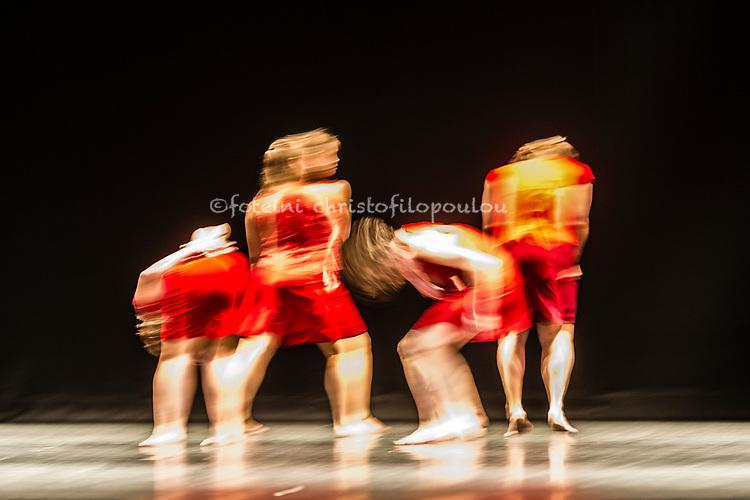London, UK. 19.10.2017. Lyon Opera Ballet performs Trois Grandes Fugues, choreographed by Maguy Marin, as part of Dance Umbrella 2017 at Sadler's Wells 19-20 October. Dancers are: Jacqueline Bâby, Coralie Levieux, Graziella Lorriaux, Elsa Monguillot de Mirman.  Photo - © Foteini Christofilopoulou.