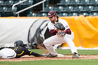 Spencer Johnson #34 of the Missouri State Bears catches a pick off attempt during a game against the Wichita State Shockers at Hammons Field on May 4, 2013 in Springfield, Missouri. (David Welker/Four Seam Images)