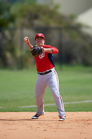 Washington Nationals Zack Cox (6) during practice before a minor league Spring Training game against the Detroit Tigers on March 21, 2016 at Tigertown in Lakeland, Florida.  (Mike Janes/Four Seam Images)