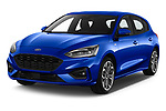2018 Ford Focus ST Line Business 4 Door Hatchback angular front stock photos of front three quarter view